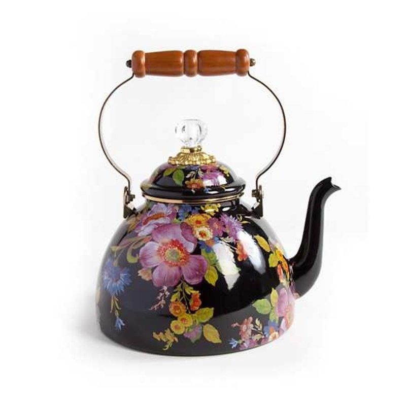MacKenzie-Childs Flower Market 3 Quart Tea Kettle - Black
