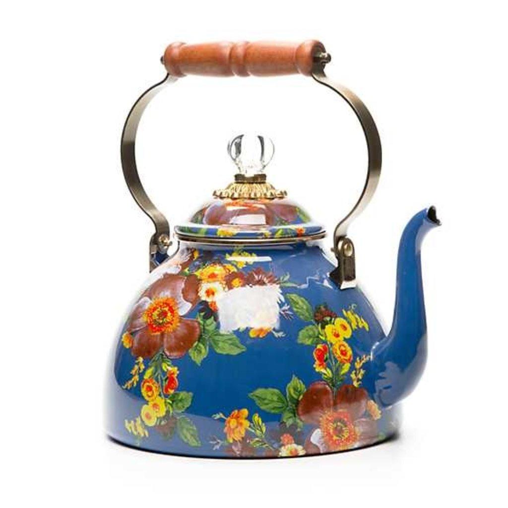 MacKenzie-Childs Flower Market 3 Quart Tea Kettle - Lapis