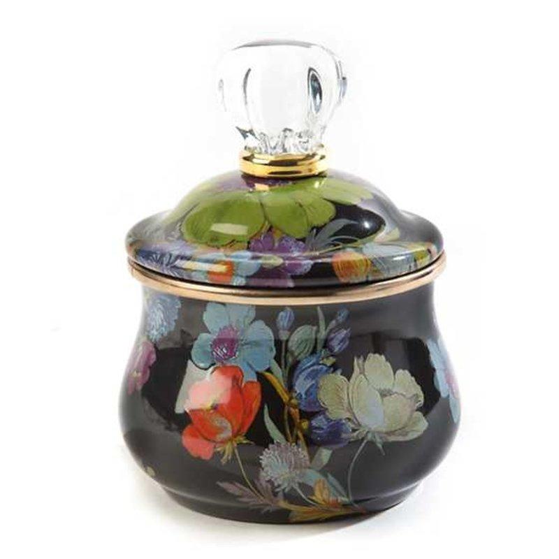 MacKenzie-Childs Flower Market Lidded Sugar Bowl - Black