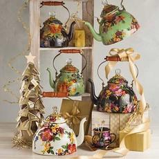 MacKenzie-Childs Flower Market 3 Quart Tea Kettle - Green