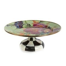 MacKenzie-Childs Flower Market Small Pedestal Platter - Green