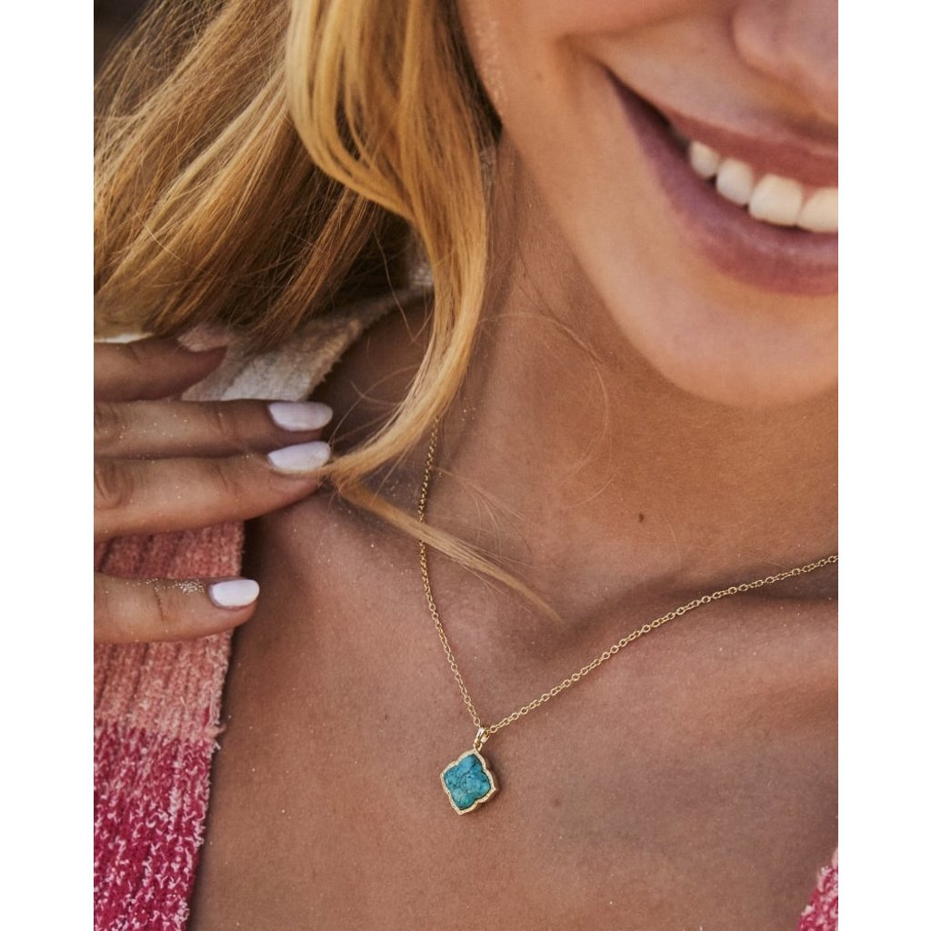 Kendra Scott Mallory Pendant Necklace Gold Variegated Turquoise