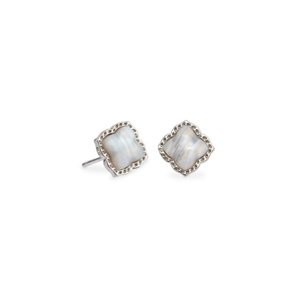 Kendra Scott Mallory Stud Earring Rhodium Gray Banded Agate