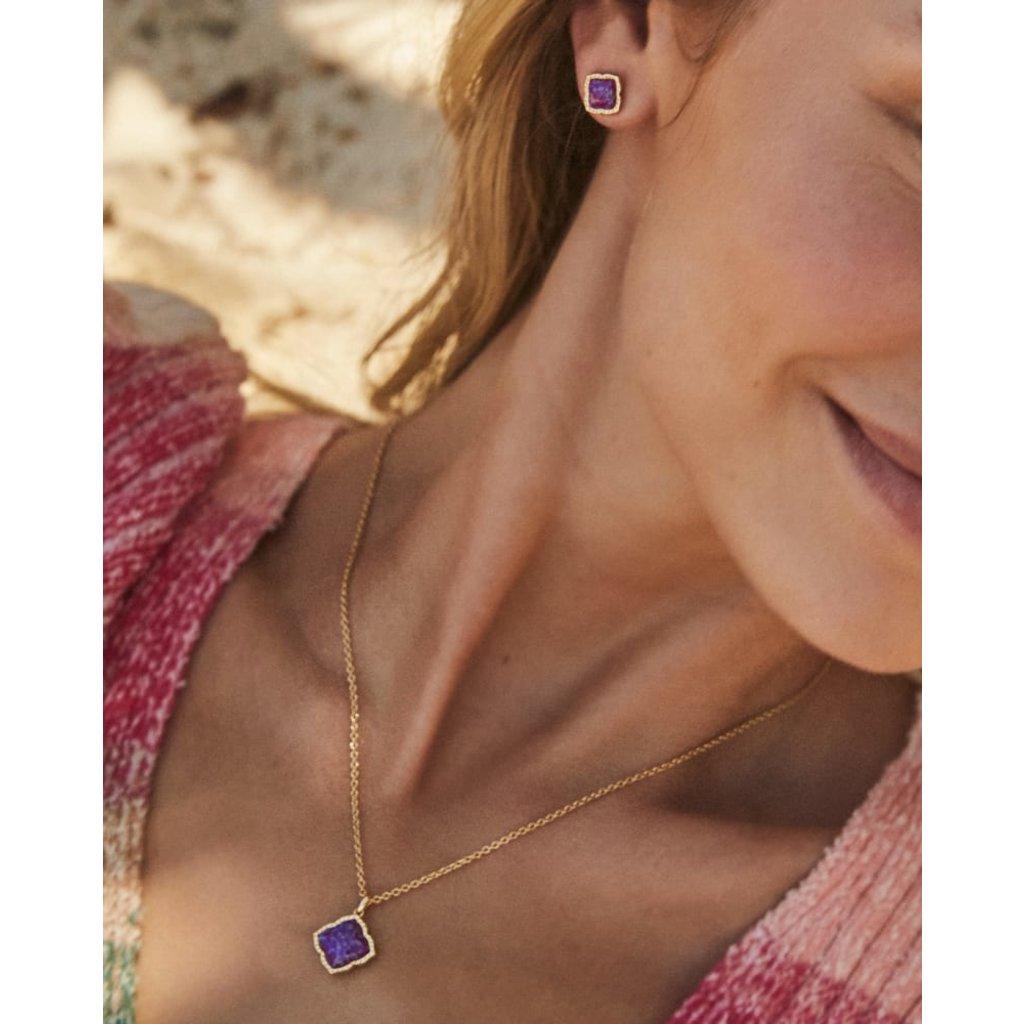 Kendra Scott Mallory Pendant Necklace Gold Plum Opal