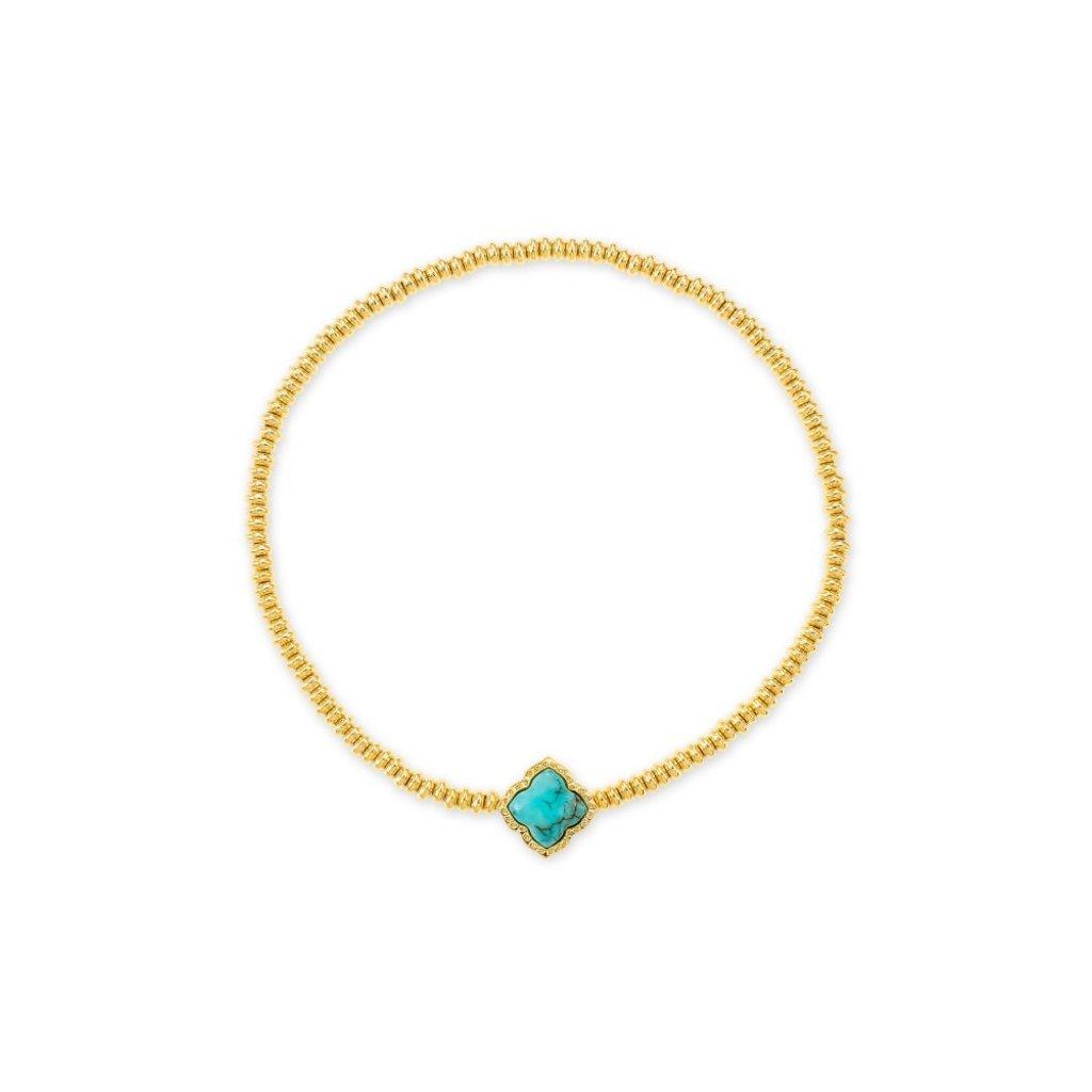 Kendra Scott Mallory Stretch Bracelet Gold Variegated Turquoise