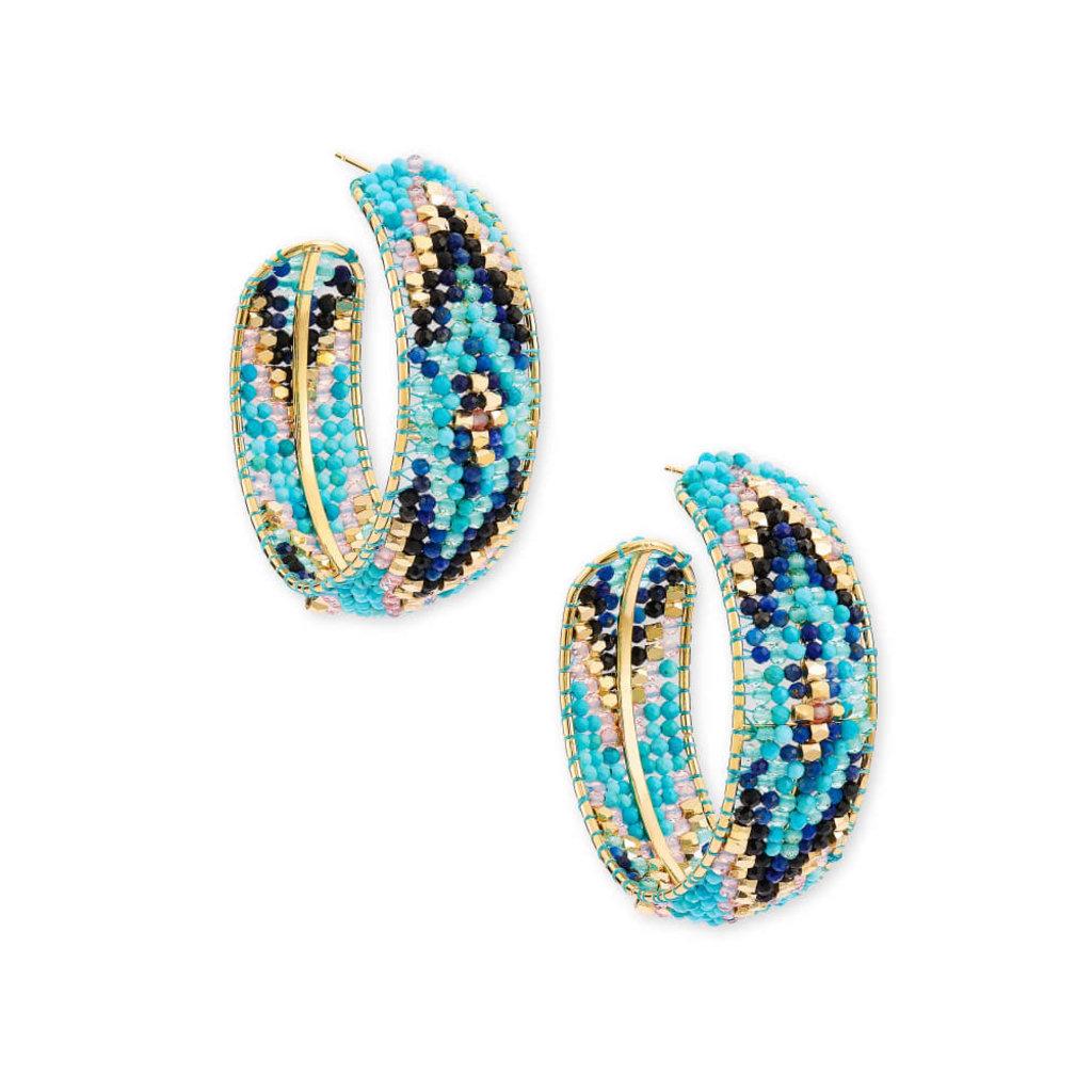 Kendra Scott Britt Gold Hoop Earrings In Blue Mix