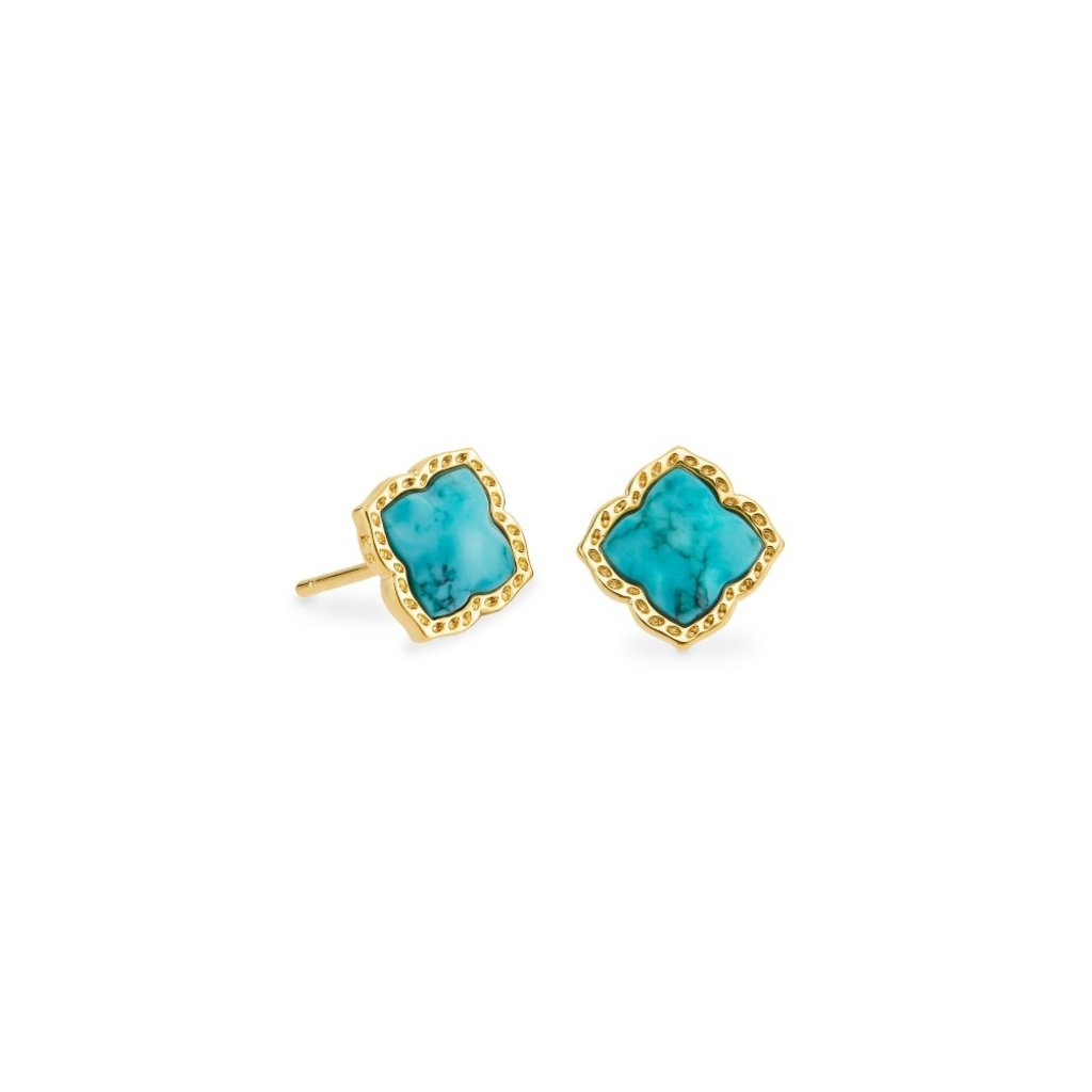 Kendra Scott Mallory Stud Earring Gold Variegated Turquoise