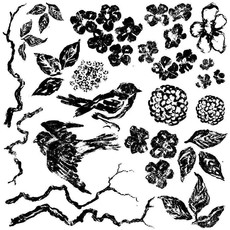 Iron Orchid Designs Birds Branches Blossoms Decor Stamp