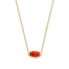 Kendra Scott Baroque Elisa Gold Pendant Necklace In Orange Banded Agate