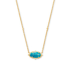 Kendra Scott Baroque Elisa Gold Pendant Necklace In Teal Howlite