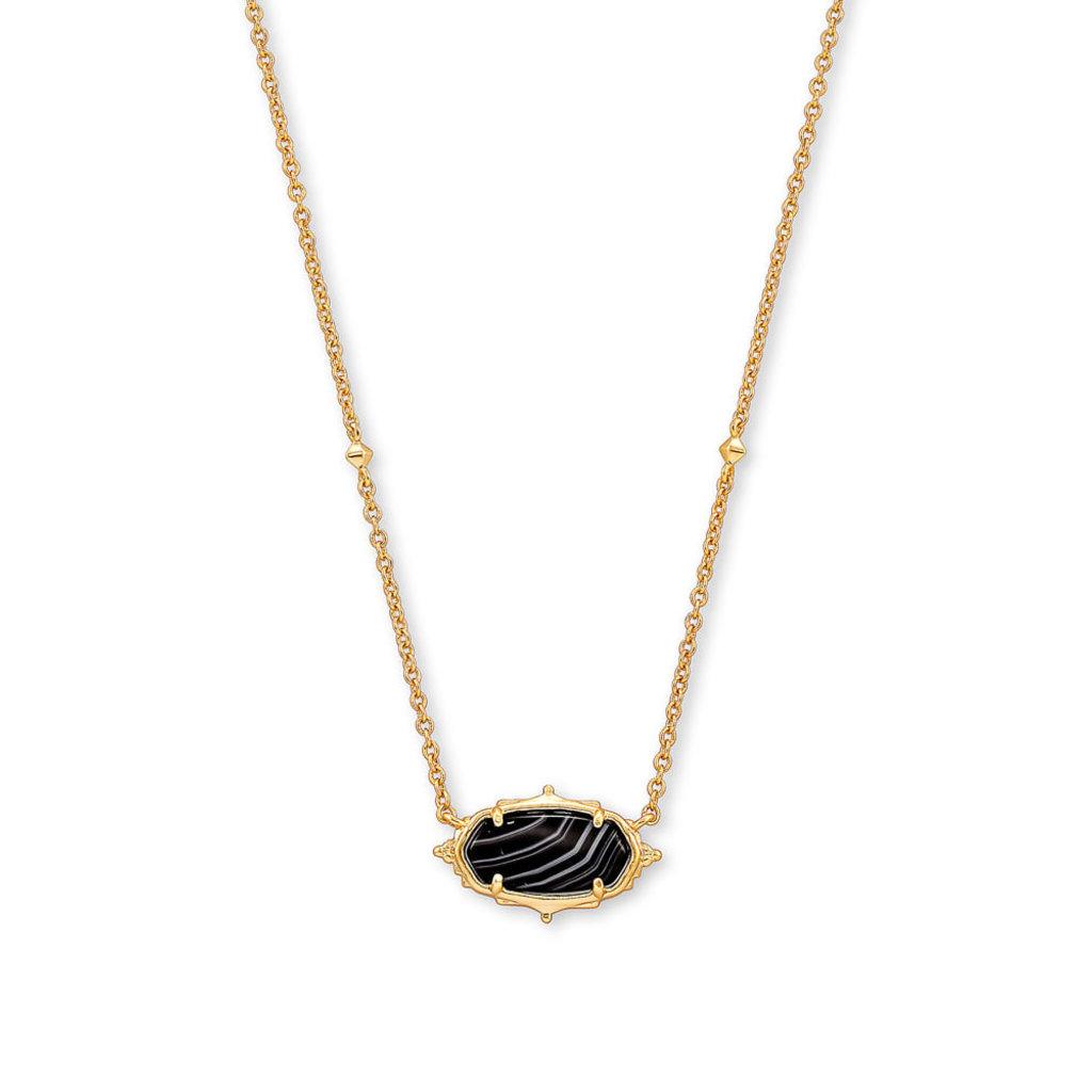 Kendra Scott Baroque Elisa Gold Pendant Necklace In Black Banded Agate