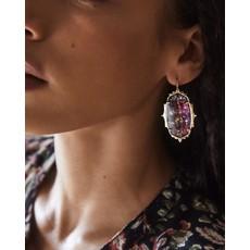 Kendra Scott Baroque Ella Gold Drop Earrings In Mauve Abalone