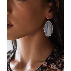 Kendra Scott Baroque Ella Silver Drop Earrings In Gray Banded Agate
