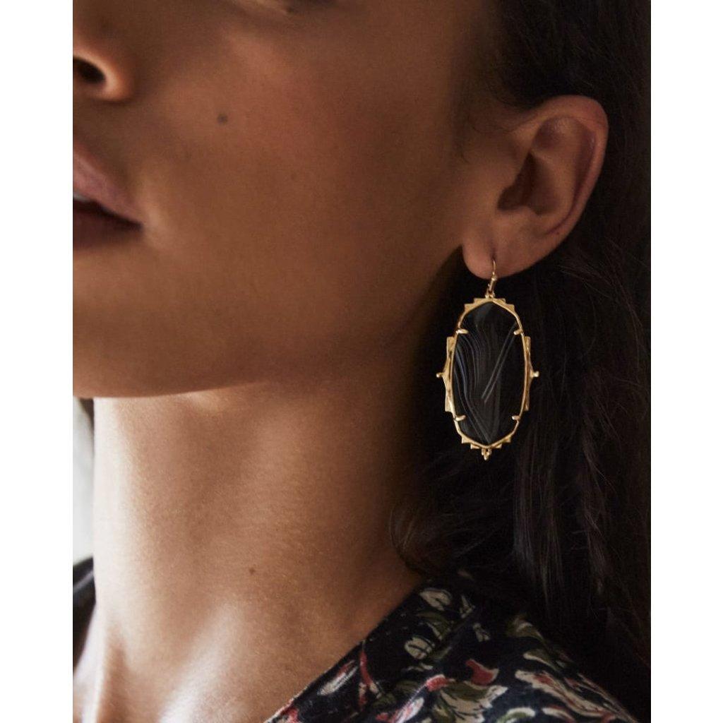 Kendra Scott Baroque Ella Gold Drop Earrings In Black Banded Agate