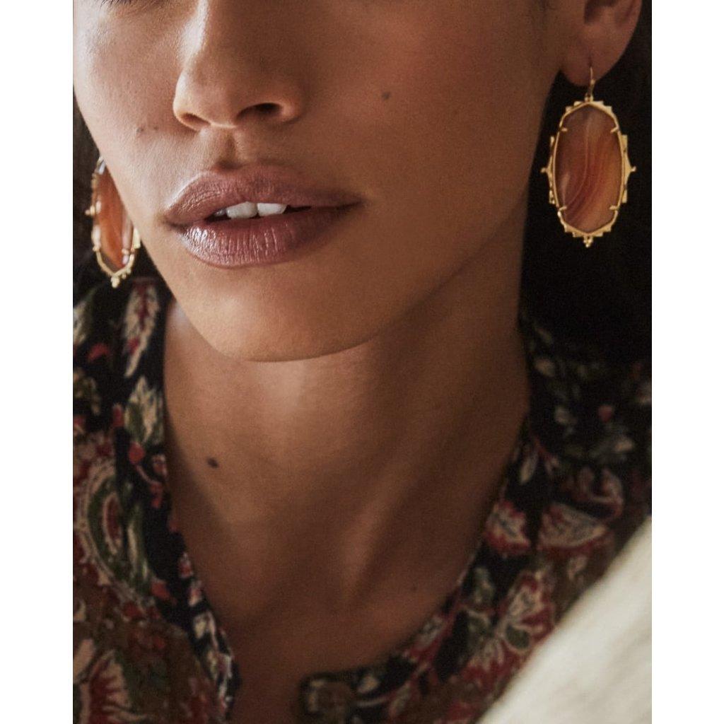 Kendra Scott Baroque Ella Gold Drop Earrings In Orange Banded Agate