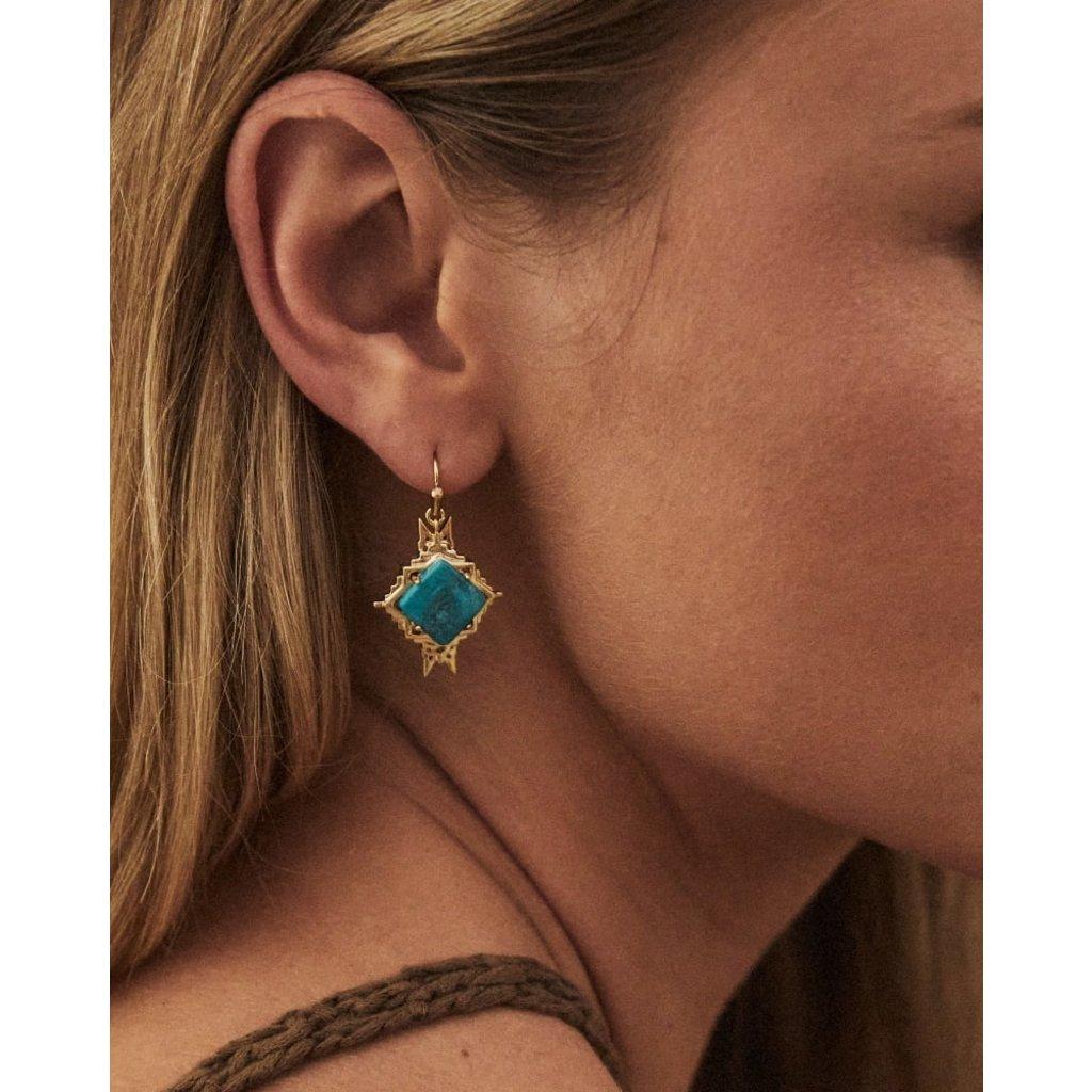 Kendra Scott Cass Gold Drop Earrings In Teal Howlite