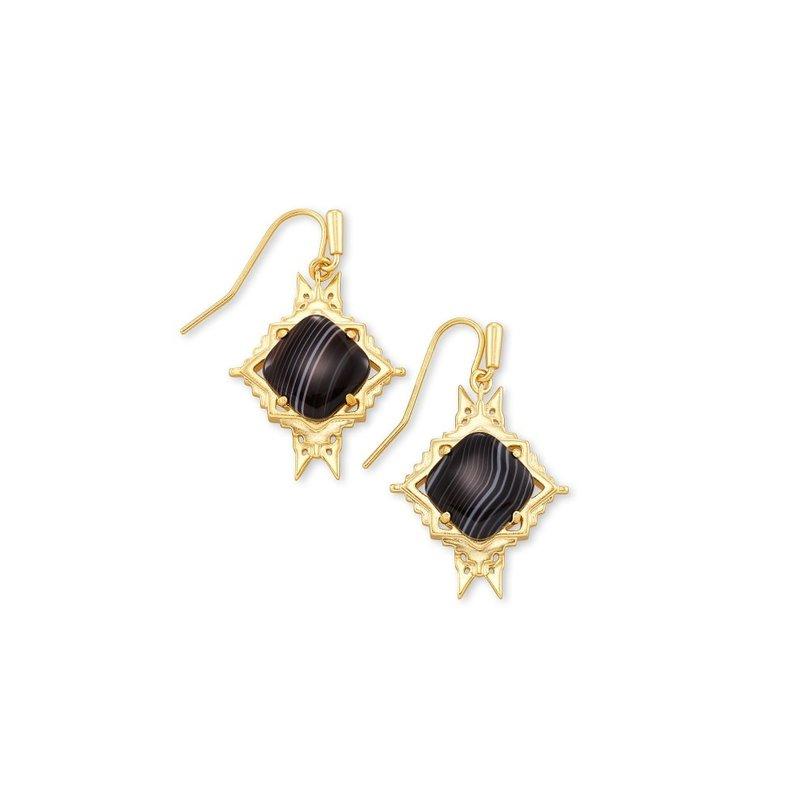 Kendra Scott Cass Gold Drop Earrings In Black Banded Agate