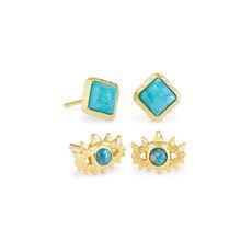 Kendra Scott Gemma Gold Stud Earrings Set Of 2 In Teal Labradorite