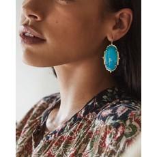 Kendra Scott Baroque Ella Gold Drop Earrings In Teal Howlite