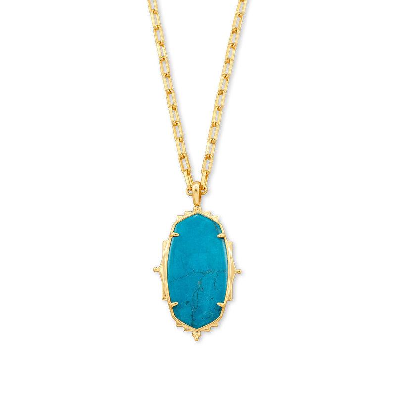 Kendra Scott Baroque Ella Gold Long Pendant Necklace In Teal Howlite