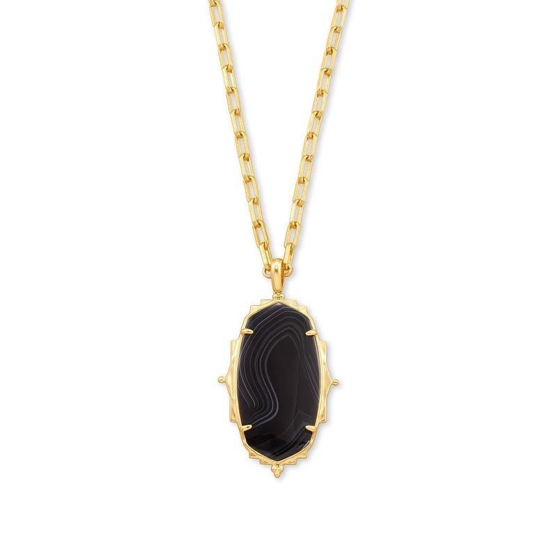 Kendra Scott Baroque Ella Gold Long Pendant Necklace In Black Banded Agate