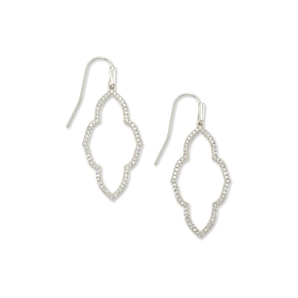 Kendra Scott Abbie Silver Small Open Frame Earrings In White Crystal