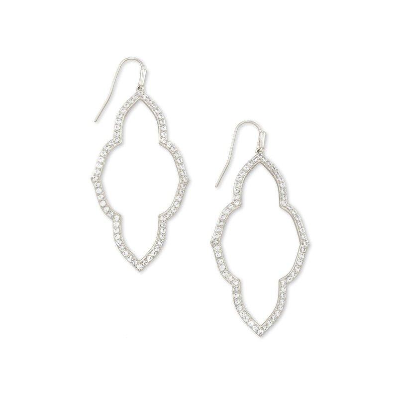 Kendra Scott Abbie Silver Open Frame Earrings In White Crystal
