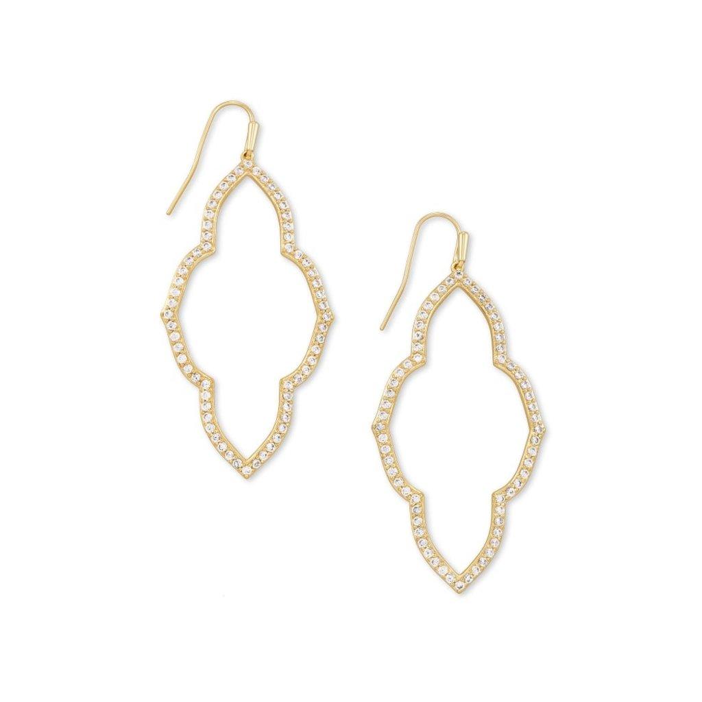 Kendra Scott Abbie Gold Open Frame Earrings In White Crystal