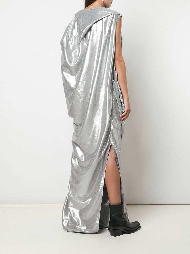 Rick Owens Metallic Effect Draped Nouveau Gown
