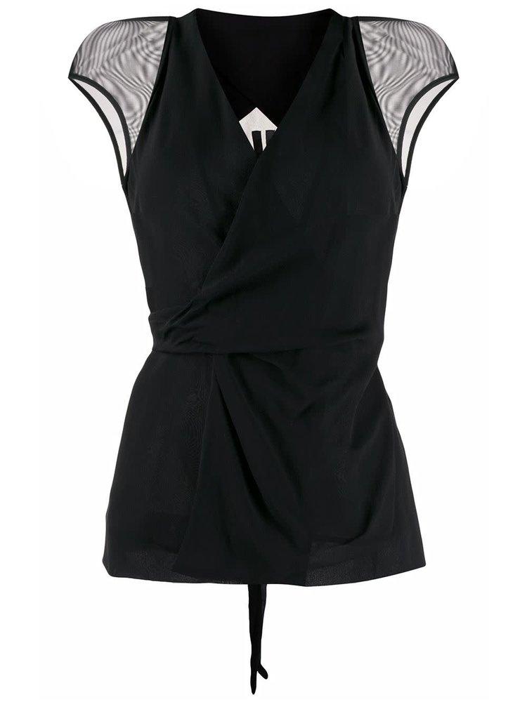 Rick Owens Sheer-Sleeve Wrap Blouse