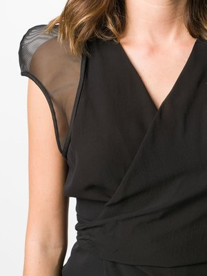 Rick Owens Sheer-Sleeve Wrap Blouse