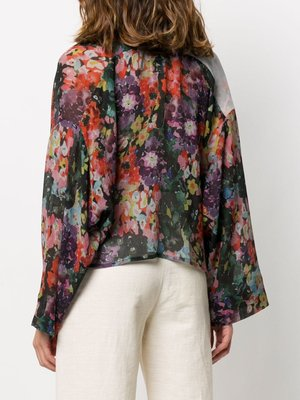 ANNTIAN Short Blouse Pale Flower