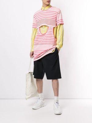 COMME des GARÇONS HOMME PLUS Striped Inset Long T-shirt