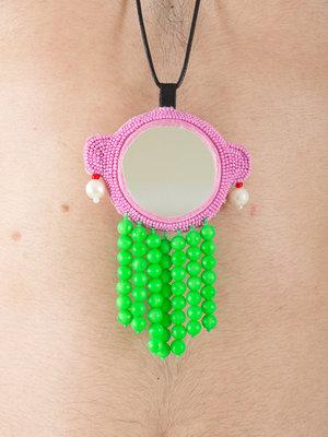 Walter Van Beirendonck Pink Beaded Hanger Necklace