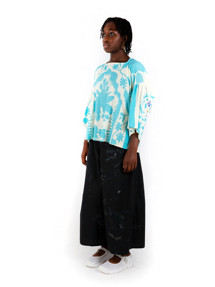 ANNTIAN Floral Knotted Top