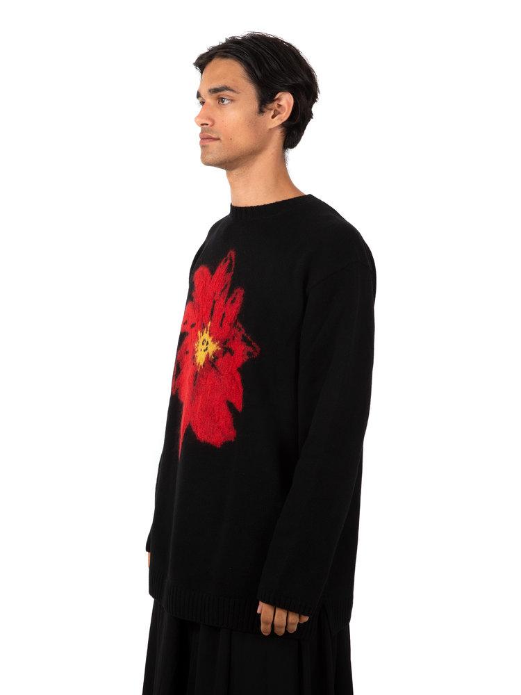 Yohji Yamamoto Floral Crew Sweater
