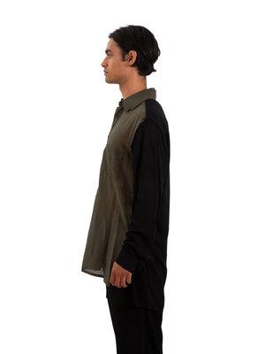 Yohji Yamamoto Asymmetric Panel Stripe Shirt