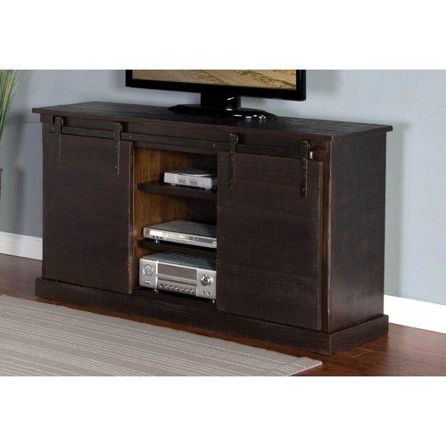 """Sunny Designs Brown 65"""" TV Console W/Barn Door"""