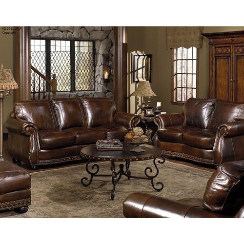 USA LEATHER Cowboy Chesterfield Leather Ottoman