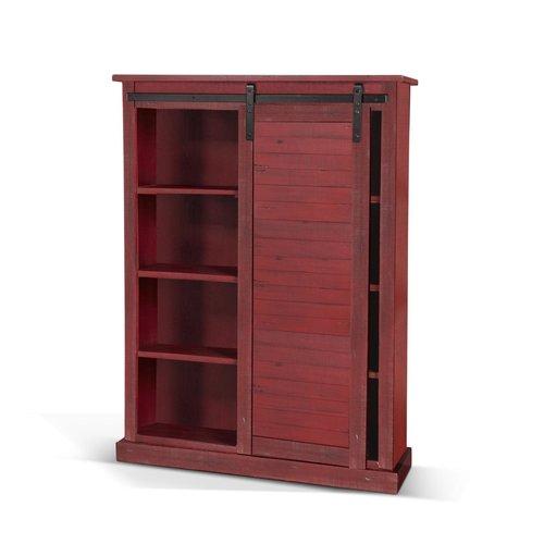 Sunny Designs Red Bookcase W/Barn Door