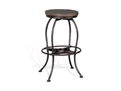 "Sunny Designs New Zealand 30"" Metal Swivel Barstool W/Wood Seat"