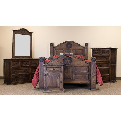 LMT Rustic King Mansion Bed W/Rope&Star Medio Finish
