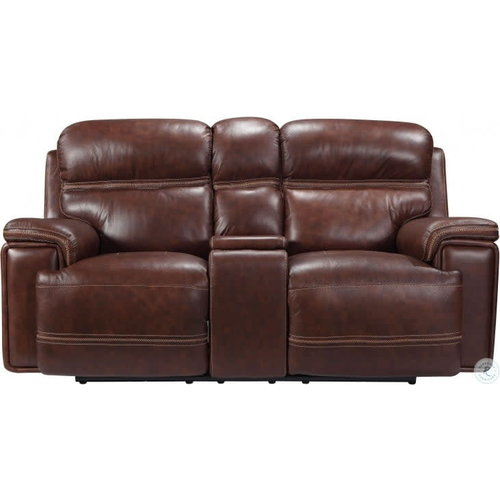 Leather Italia USA EH2394 Fresno 2P Power Loveseat w/ Console- Brown