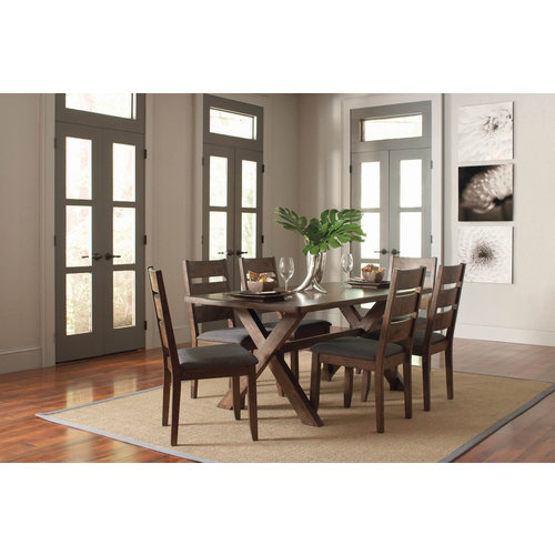 Coaster Alston Ladder Back Dining Side Chairs Knotty Nutmeg and Grey