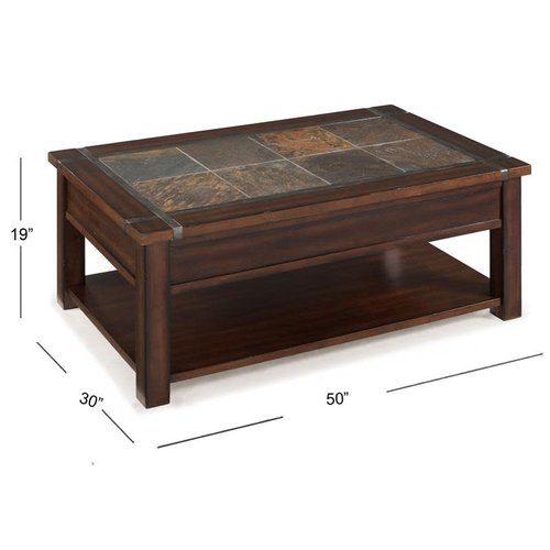 Magnussen Home Roanoke Rectangular Lift Top Cocktail Table (w/Casters) (Cherry and Slate)