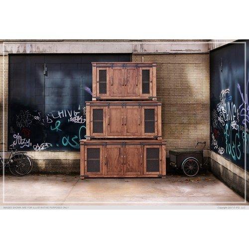 "IFD Parota 70"" TV Stand w/ 4 Doors & Shelves"