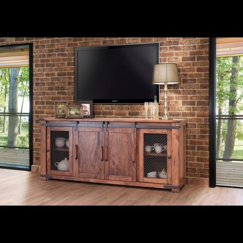 "IFD Parota 80"" TV Stand w/4 Doors & Shelves"