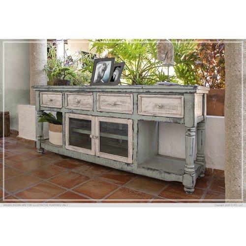 "IFD Aruba 70"" TV Stand in Sky Blue Finish, w/4 white drawer & 2 white doors"
