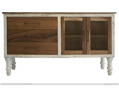 IFD Rock Valley 3 Drawer & 2 Doors (Brown) Console w/ Turned Legs
