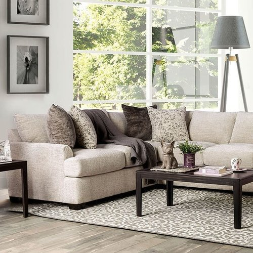 Furniture of America Alisa Sectiona Ivory